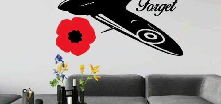 Wall art of a Spitfire and poppies